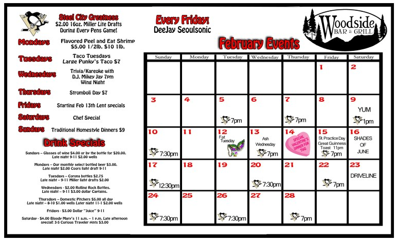 Feb. Calander of events